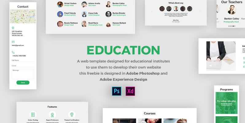 Educational Web Template For Adobe XD Bypeople - Design your own website template