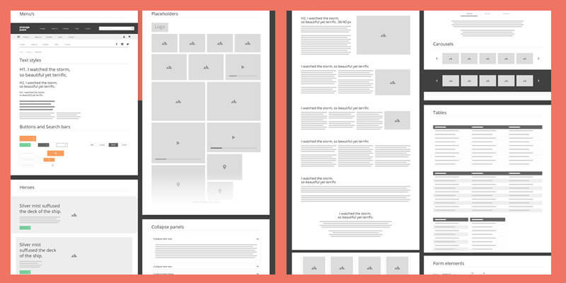 Web Mobile Prototyping Ux Pack 240 Layout Tiles For Wireframes Flow Diagrams Sitemaps
