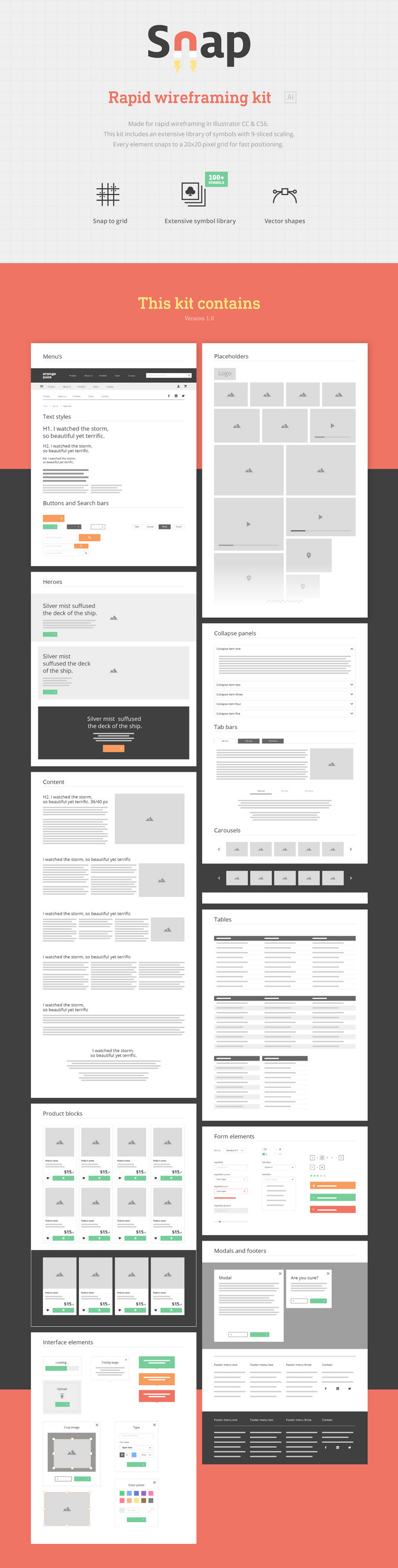 Free wireframing kit 100 symbols for illustrator bypeople for rapid wireframing it snaps to a 2020 pixel grid including a huge library of symbols 9 sliced scaling and ready to use in adobe illustrator biocorpaavc
