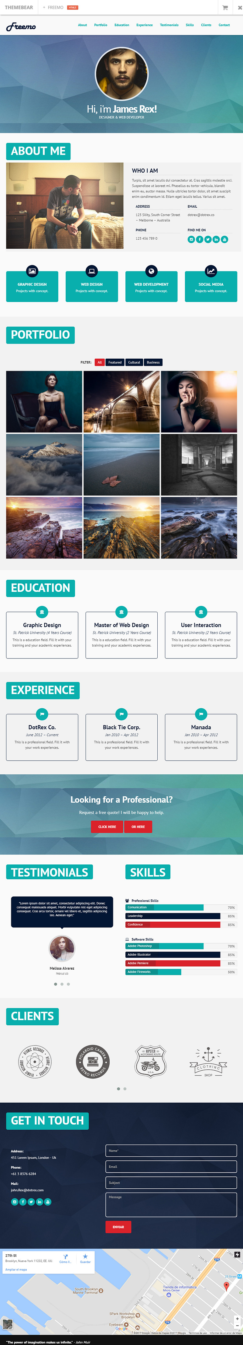 Freemo Bootstrap Resume Portfolio Theme Bypeople