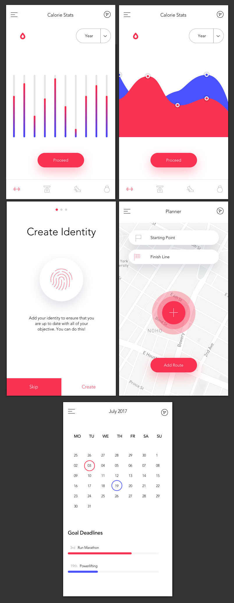 fitness app dashboard sketch bypeople