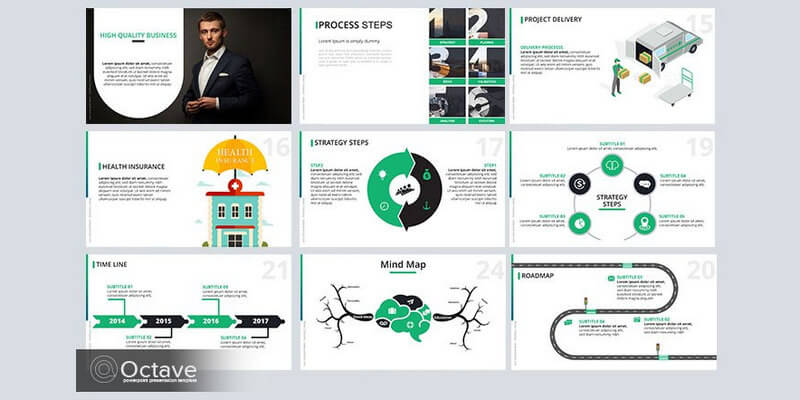 free infographic powerpoint template (20+ slides) - bypeople, Presentation templates