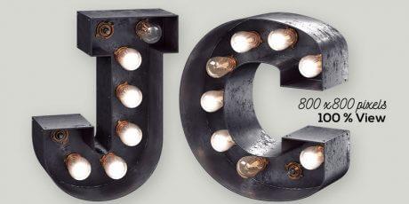 vintage light bulb lettering