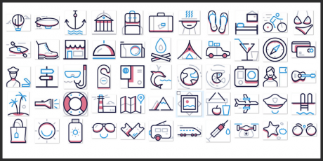 travel themed icons pack