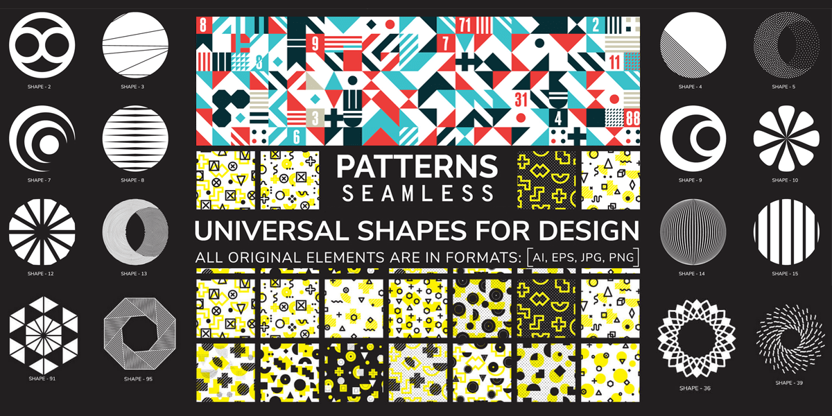 Geometric Shapes Patterns Bundle 300 Vector Elements In Geometric Graffiti Styles