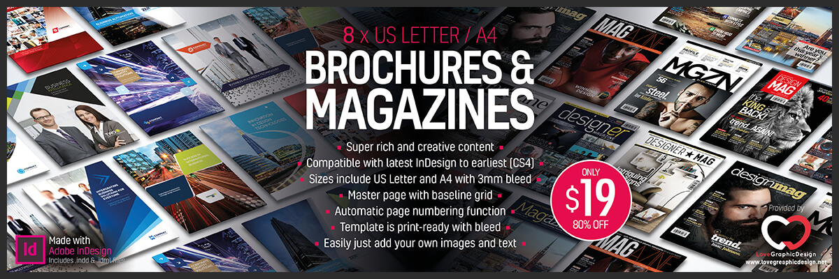 indesign magazine brochure templates bundle 1200x400px