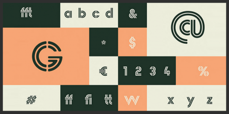 free stencil rounded typeface