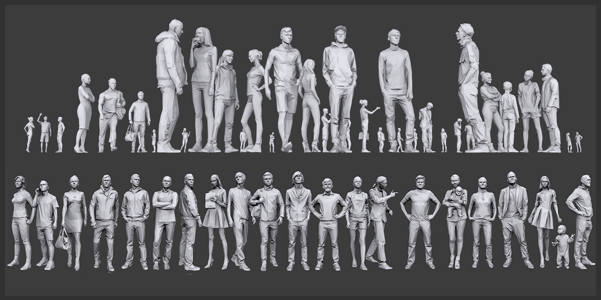 200+ Low Poly 3D People Models  3DS, OBJ, FBX, STL File