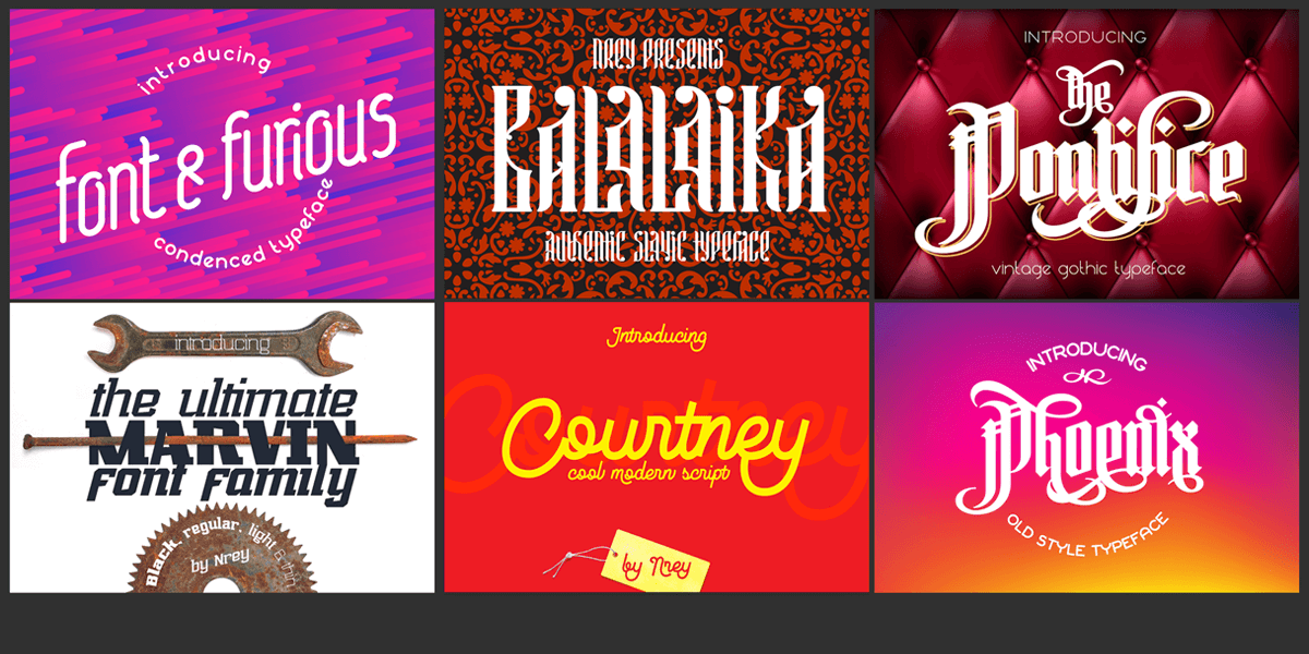 40 Display Fonts Bundle in 9 Type Design Styles  Multi