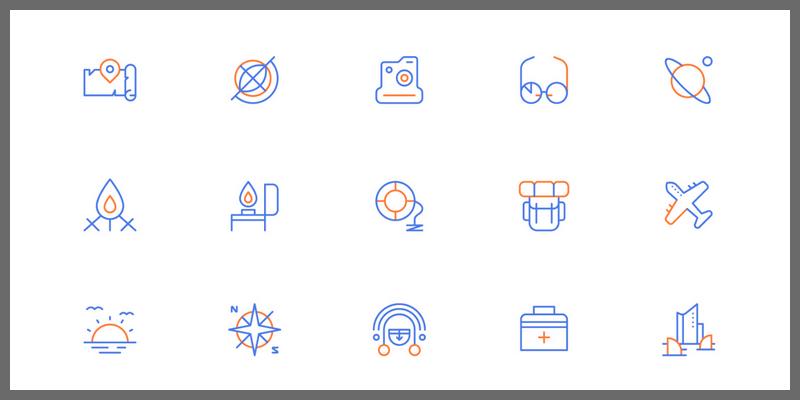 color line travel icons set