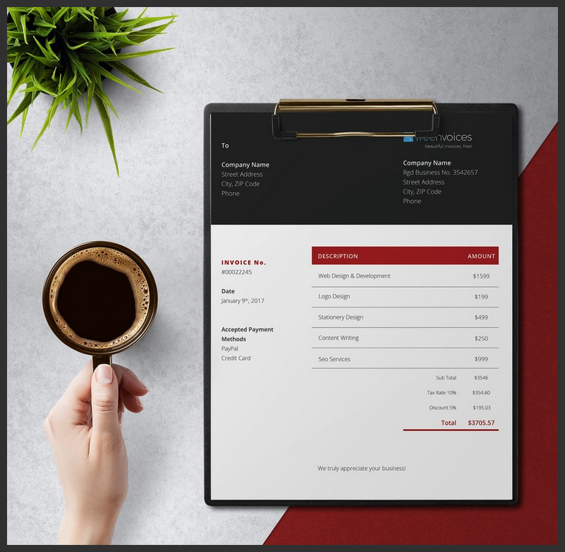 Free Stylish Invoice Template Docx Bypeople