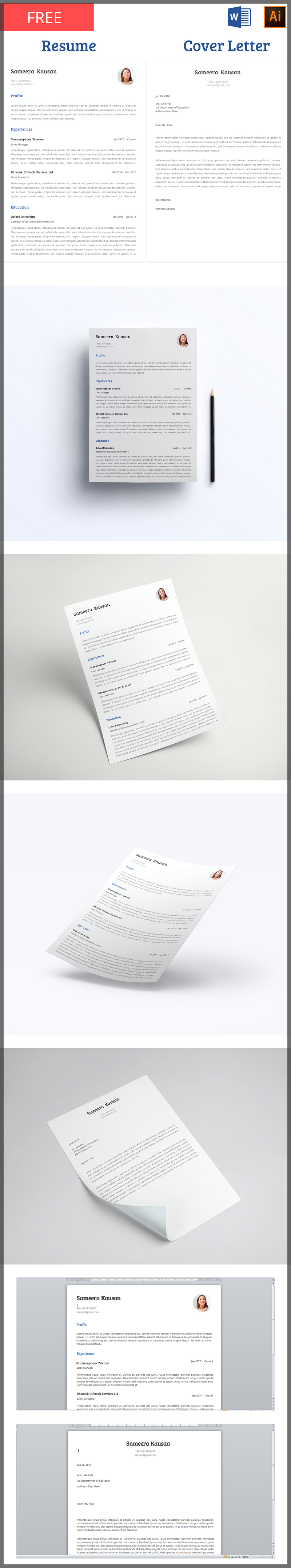 Free Resume Template With Cover Letter By Behance User Shoaib Mahmud. It  Includes Templates Editable In Both MS Word Or Adobe Illustrator, With A  Clean, ...