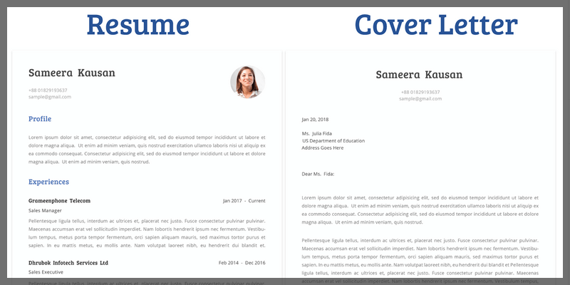 Simple Resume Template With Cover Letter (Doc, Ai)