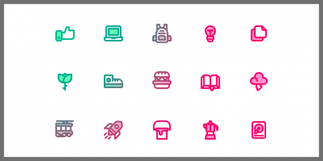 100 simple line icons pack
