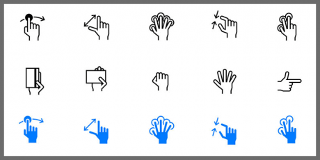 ios hand gesture icons tab bar