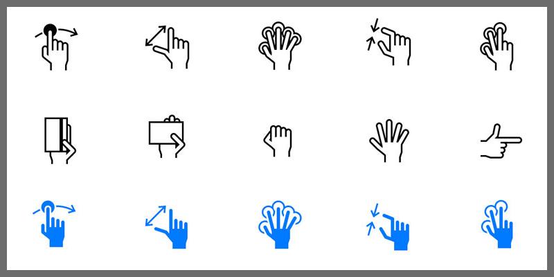 ios hand gesture icons tab bar