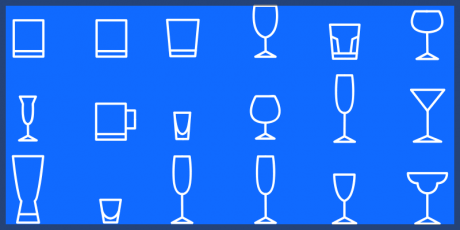 line icons pack vector glassware