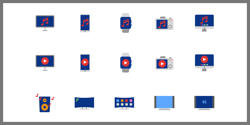 multimedia flat icons pack svg