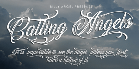 calling angels tattoo script font