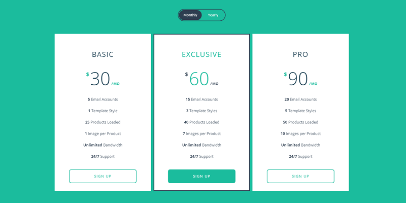 responsive animated pricing table