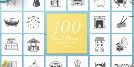 100 hand drawn illustrations