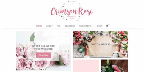 crimson rose girly wordpress theme