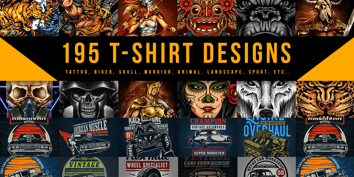 195 T Shirt Designs Ai Eps Psd Svg Vector File Formats Extended License Bypeople
