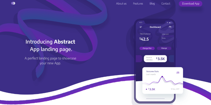 abstract app landing page psd