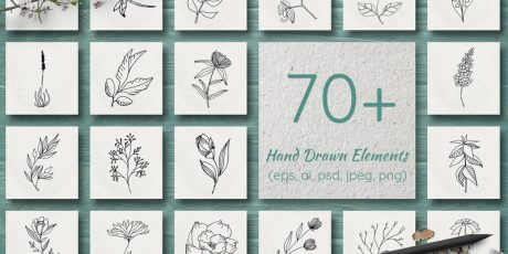 bypeople exclusive floral handdrawn vector elements