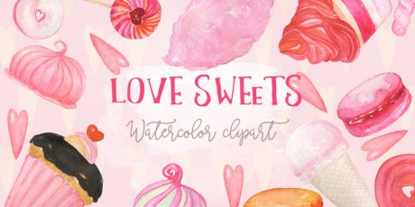 lovely watercolor clipart candy illustrations