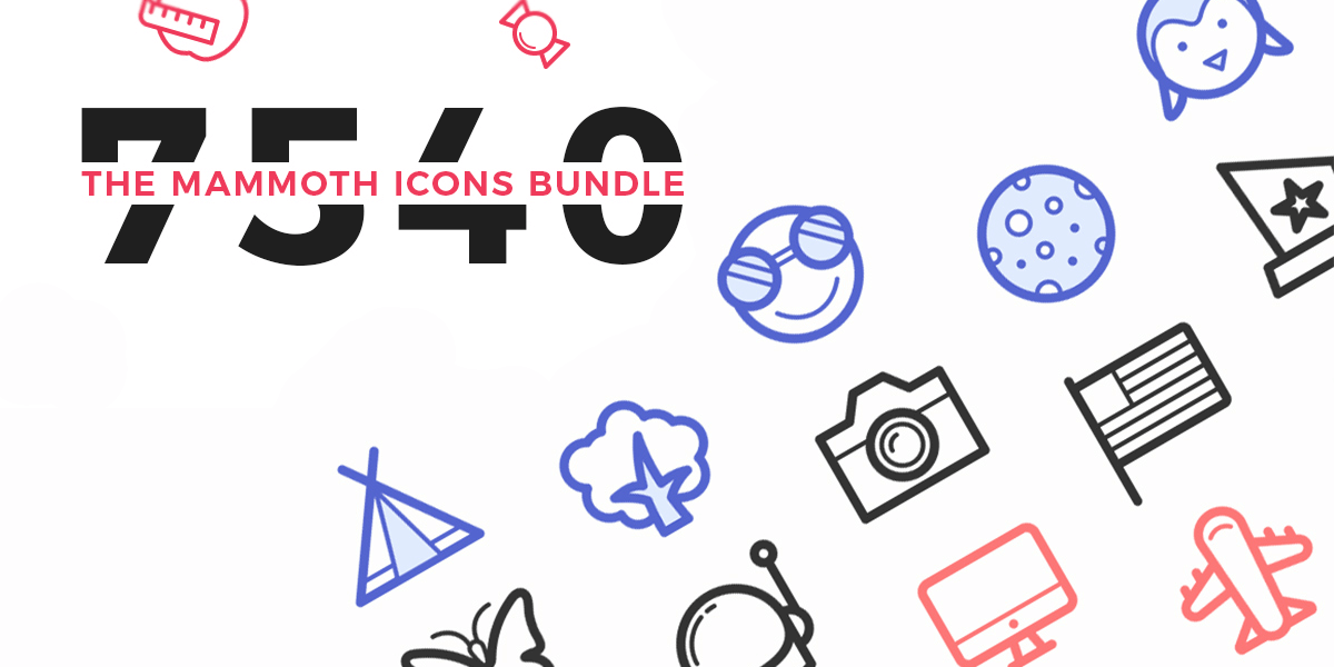 Mammoth 7500+ Icons Collection, Ai, Sketch, & EPS File