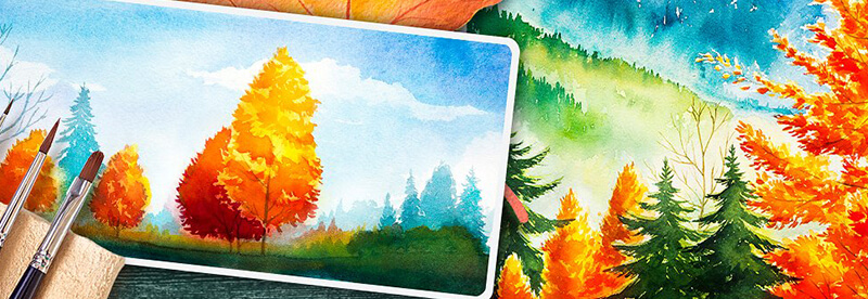 featured img 100 watercolor vector landscapes green art bypeople deals