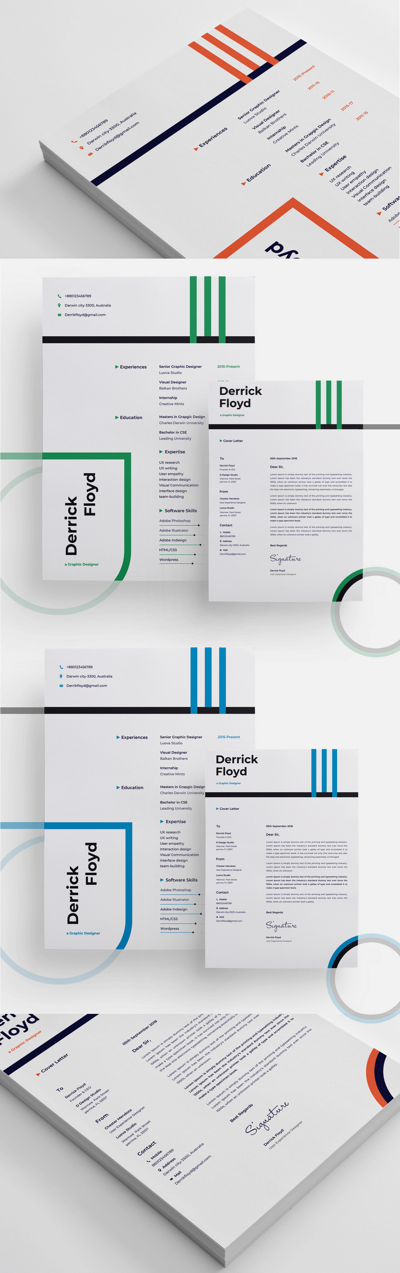modern cover page resume template psd sketch docx xd bypeople