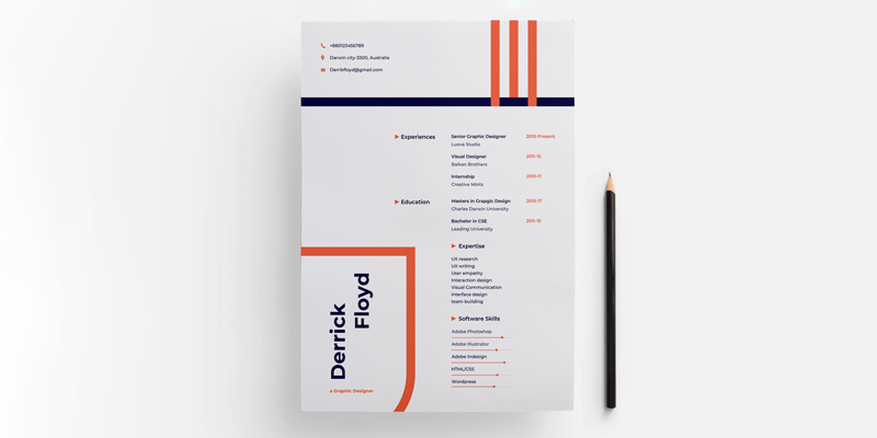 Modern Cover Page & Resume Template (PSD, Sketch, DOCX, XD)