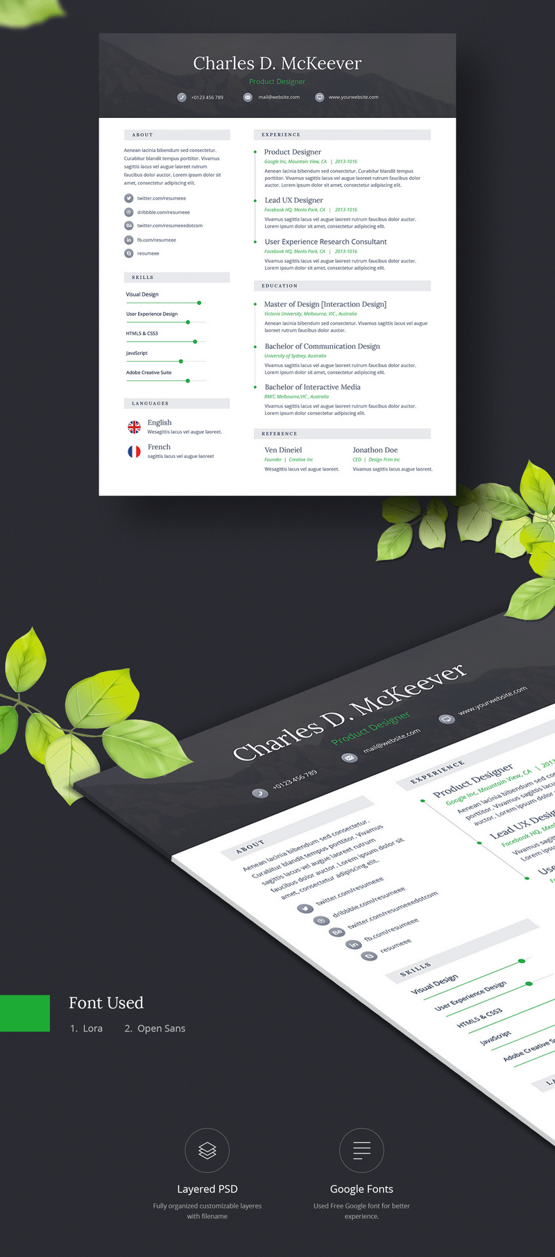 onepage cv resume template psd bypeople