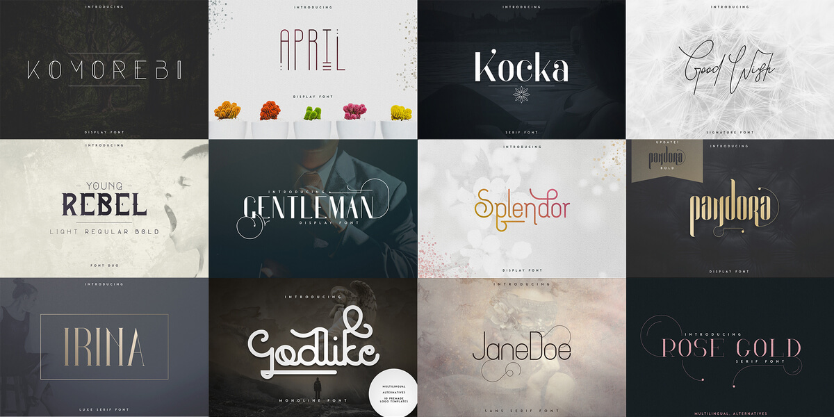 26 Awesome Fonts For Display Branding. Multilingual Support Alternate Characters