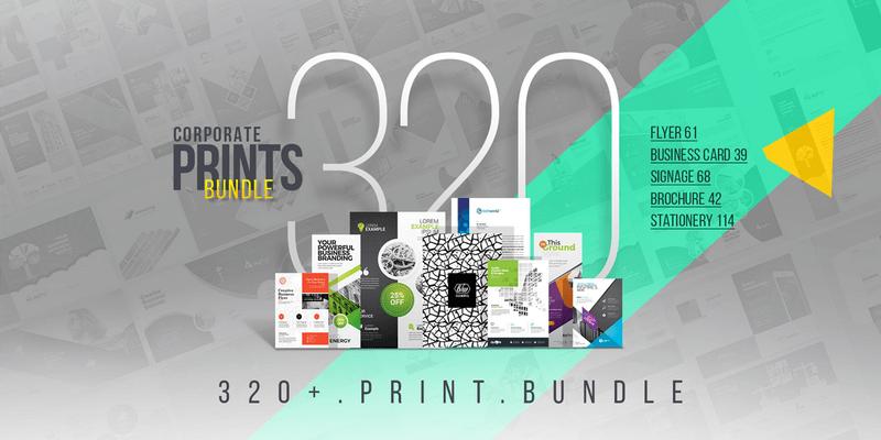320 professional print templates bundle editable eps files print