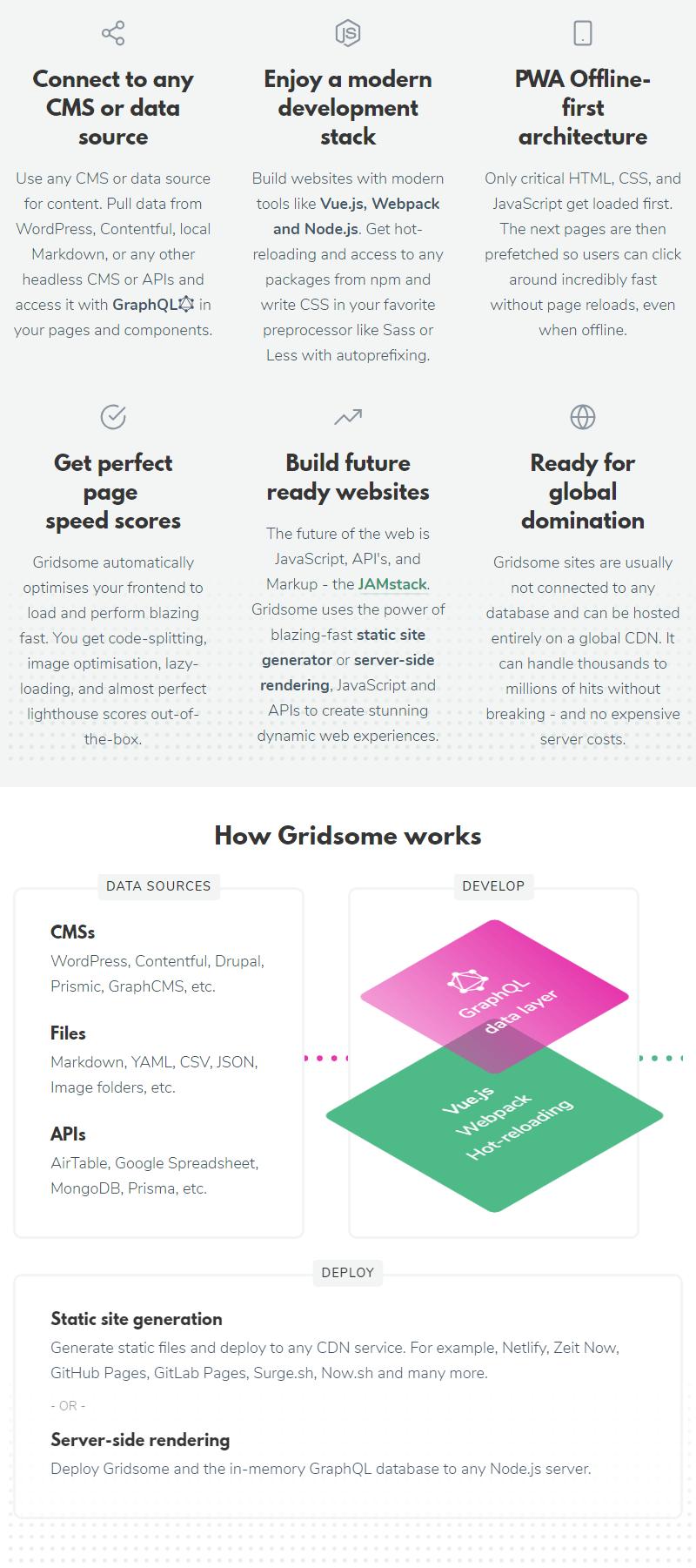 gridsome vue framework description