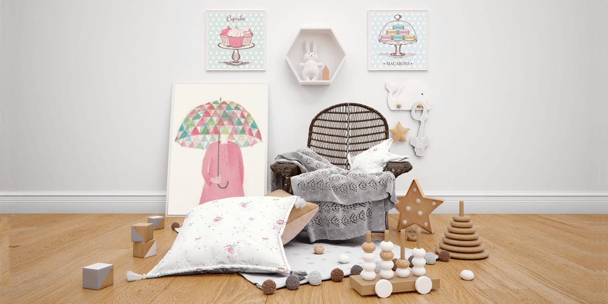 Massive Kids Bedroom PSD Mockups Collection: Hundreds of Objects