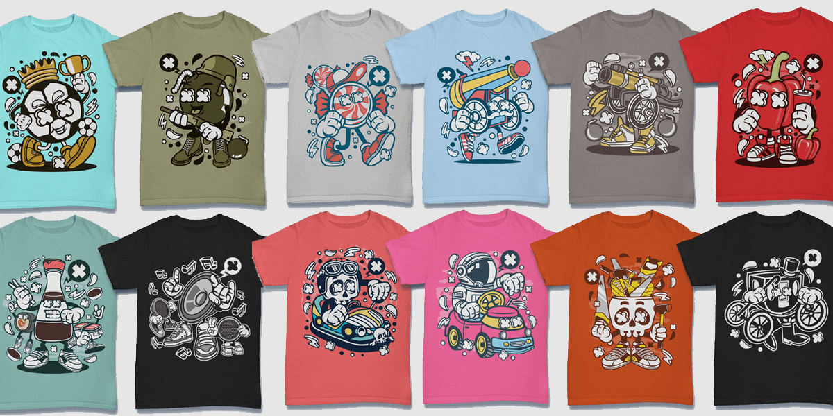 dd9f6dd3 300 Vector Cartoon T-Shirt Designs For Commercial Use | Bypeople