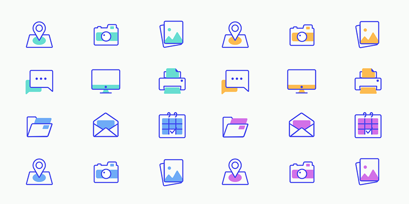 Office Color Glyph Icon Set (SVG, Sketch) | Bypeople