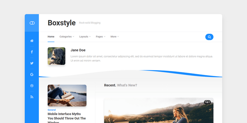 Boxed style Personal Blog Theme For WordPress