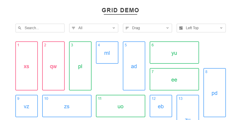 draggable grid layouts with muurijs