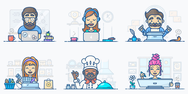 Illustrations, Animated Icons & Patterns Pack: SVG, Ai, AE, JSON