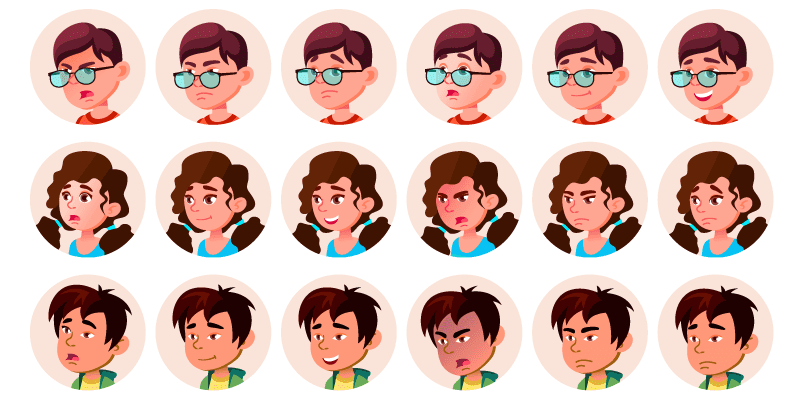 1026 Vector Avatar & Character Portraits Pack, EPS & Ai Vector Files