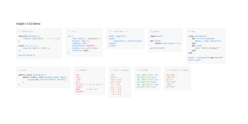 Lolight: JavaScript Syntax Highlighter & Tokenizer | Bypeople