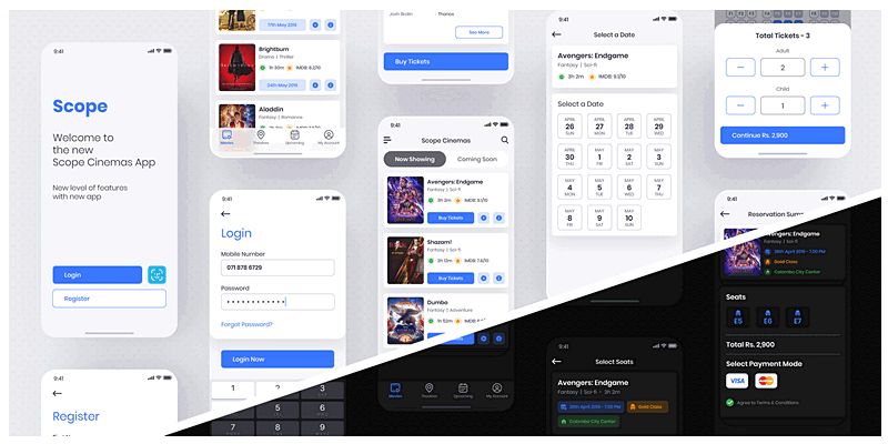 Movie Tickets Booking App Concept For Sketch | Bypeople