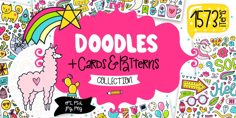 1500+ Girly Doodle Elements, Clipart Illustrations, Patterns & More