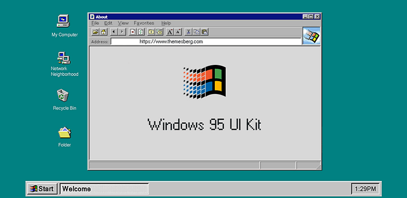 Windows 95 Retro UI Kit (Bootstrap 4) | Bypeople