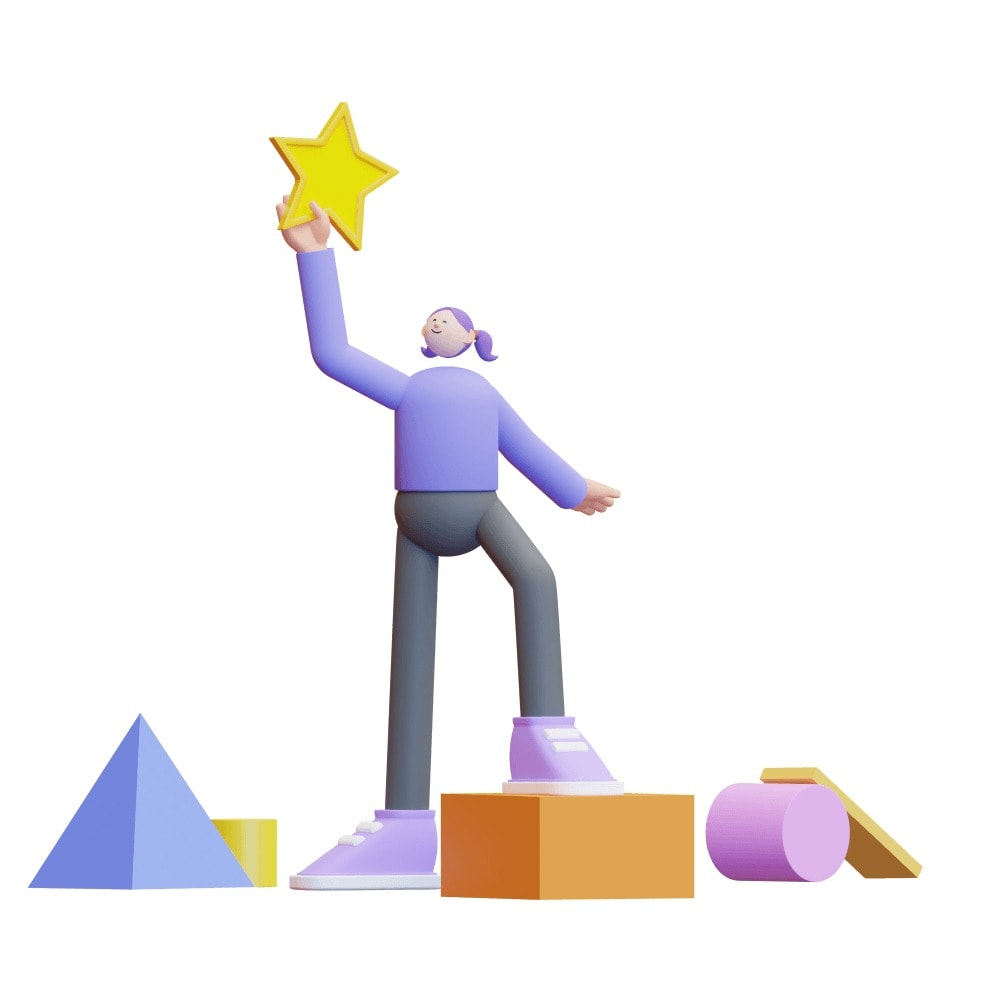 3d character holding a star in one hand above its head